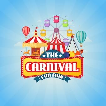 El carnaval funfair diseño ilustración vectorial
