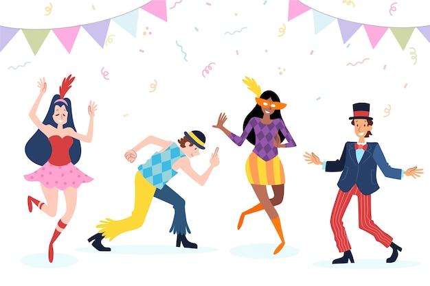 Carnaval jóvenes bailarines en disfraces divertidos