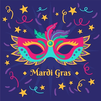 Carnaval de mardi gras dibujado a mano