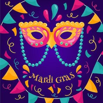 Carnaval de mardi gras de diseño plano