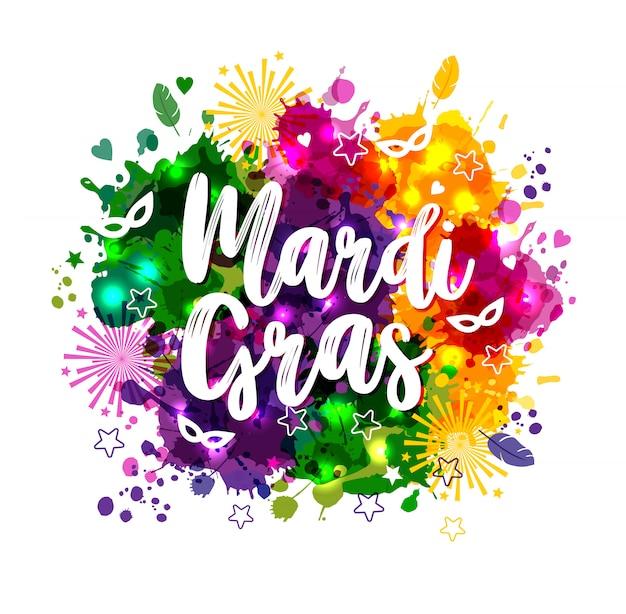 Carnaval de mardi gras sobre manchas de acuarela multicolores.
