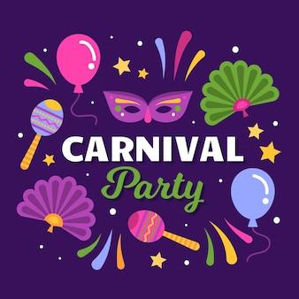 Carnaval con mascara y maracas