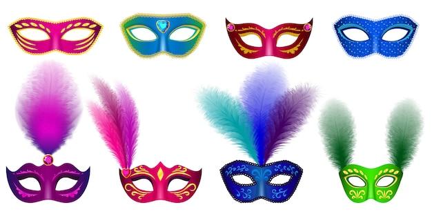 Carnaval máscara veneciana maqueta conjunto