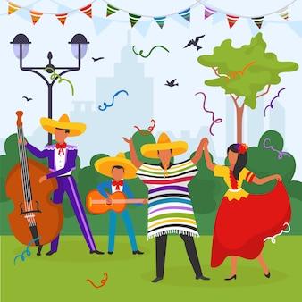 Carnaval mexicano en el parque, dos mexicanos tocan la guitarra, un hombre y una mujer están bailando en trajes nacionales, ilustración