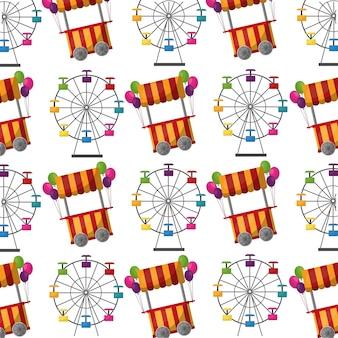 Carnaval, noria, y, cabina, globos