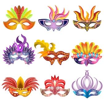 Carnaval o celebración máscaras vector iconos