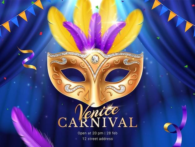 Carnaval o mascarada colombina máscara de oro en el banner del desfile de mardi gras