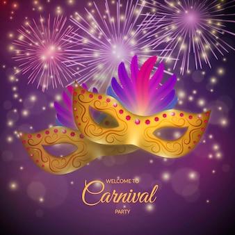 Carnaval realista con máscara y fuegos artificiales.