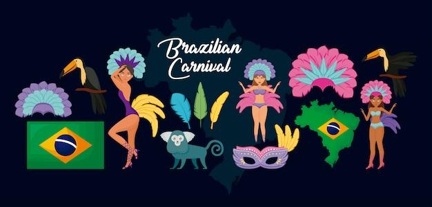 Carnaval rio janeiro conjunto de personajes y animales.