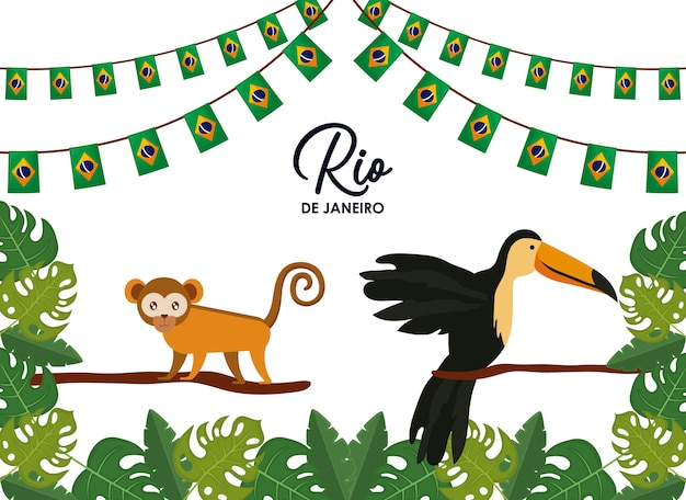 Carnaval tarjeta rio janeiro con animales exóticos.
