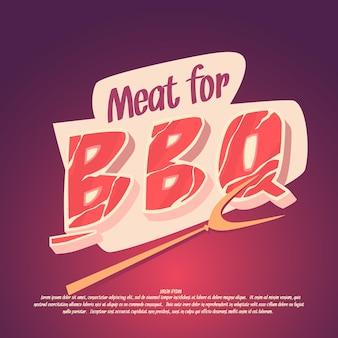 Carne para barbacoa y parrilla, cartel brillante en estilo de dibujos animados.