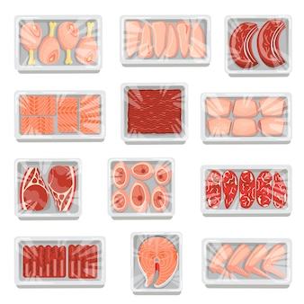 Carne fresca y pescado en bandejas de plástico o espuma de poliestireno aisladas