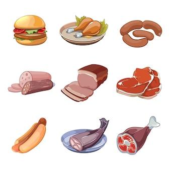 Carne, pescado, pollo y comida rápida. hot dog y hamburguesa, menú bistec almuerzo salchicha.
