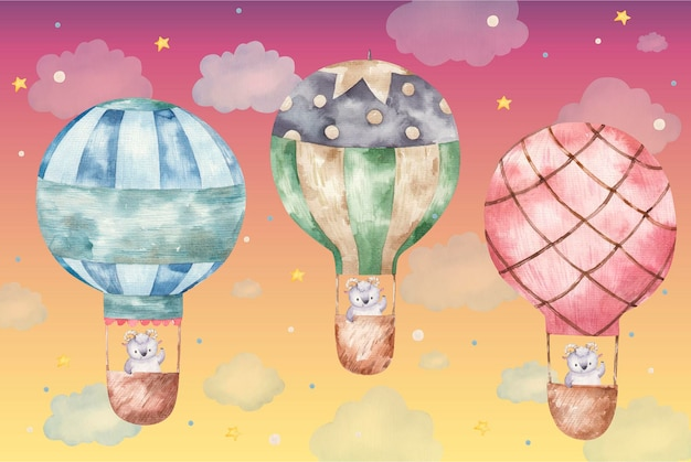 Carnero lindo volando en globos de colores, ilustración acuarela lindo bebé sobre fondo blanco