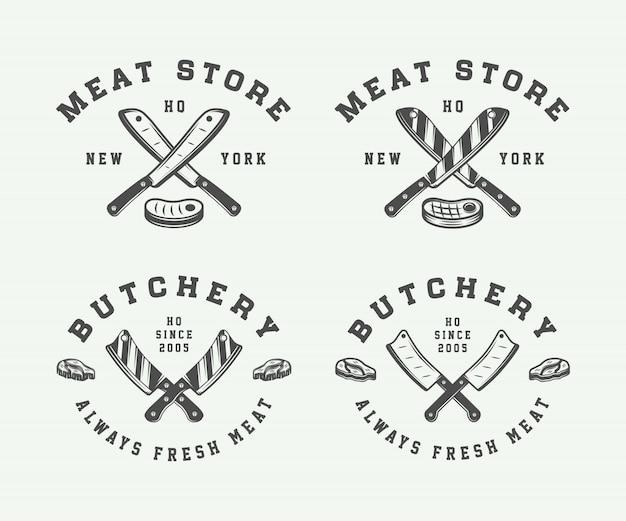 Carnes de carnicería o logos de barbacoa.