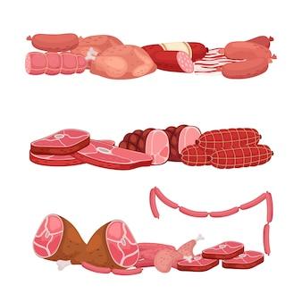 Carnes y embutidos. ilustración del mercado de carne fresca de dibujos animados