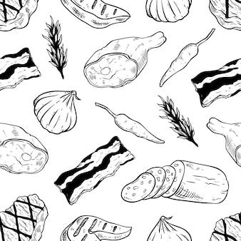 Carnes y filetes en blanco y negro de patrones sin fisuras con estilo dibujado a mano