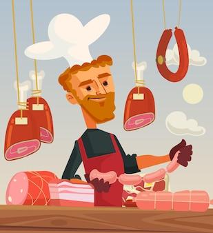 Carnicería. carácter de hombre cocinero vendedor de carne. ilustración de dibujos animados plana