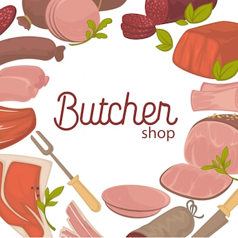Carnicero pancarta promocional con deliciosa carne fresca.