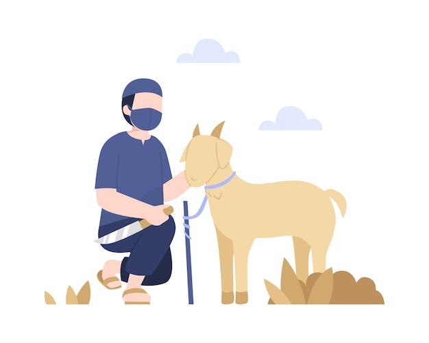 Carnicero sostiene un cuchillo para matar a una cabra para celebrar la ilustración de eid al-adha