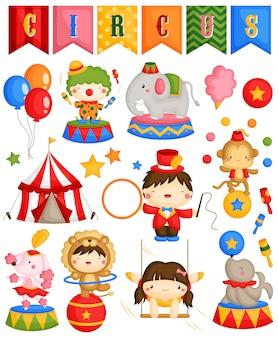 Carnival circus vector set