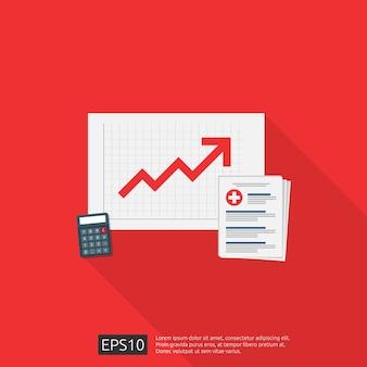 Caro creciendo concepto de costo de medicina de salud. gastos o gastos de atención médica. documento médico portapapeles con dinero y calculadora. ilustración de diseño plano