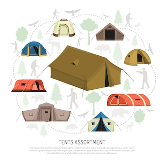 Carpa de camping selección composición anuncio cartel