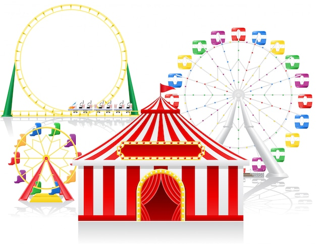 Carpa de circo y atracciones.