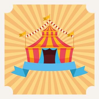 Carpa de circo con banderolas de dibujos animados.