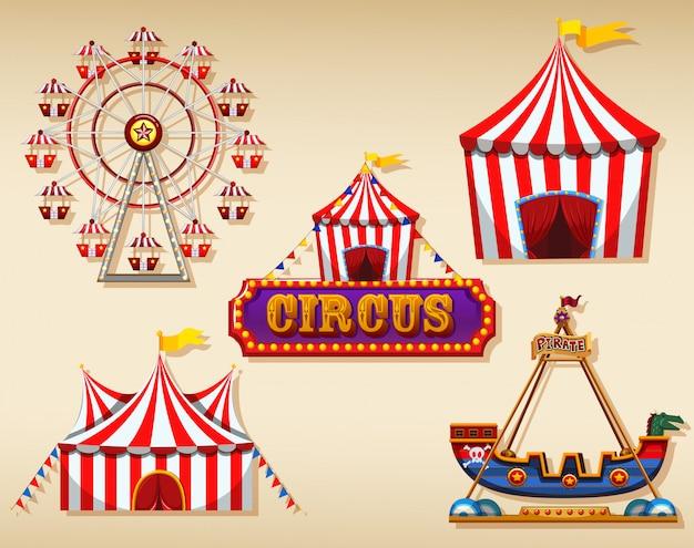 Carpa de circo y cartel.