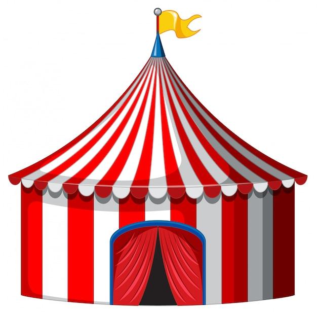 Carpa de circo en color rojo y blanco.