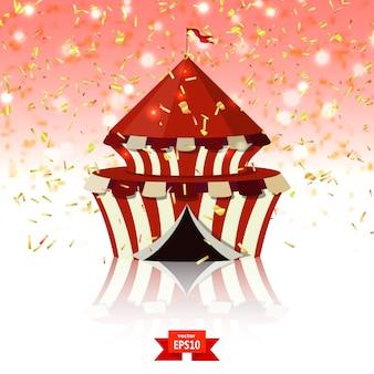 Carpa de circo de confeti sobre fondo de cristal rojo.