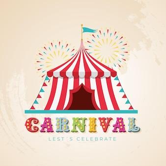 Carpa de circo con fuegos artificiales y luces de tipografía de carnaval.