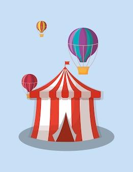 Carpa de circo y globos aerostáticos sobre fondo azul