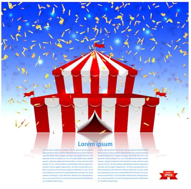 Carpa de circo bajo una lluvia de confeti.