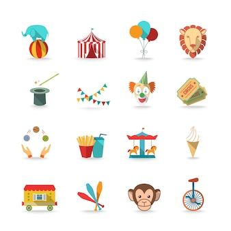 Carpa de circo con mono y león y payaso varita mágica triks iconos conjunto plana aislada