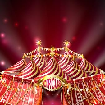 Carpa de circo a rayas con banderas doradas, estrellas y letrero iluminado