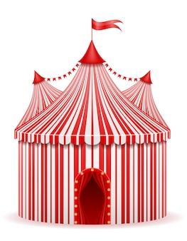 Carpa de circo a rayas rojo sobre blanco