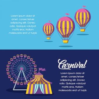 Carpa de circo con rueda panorámica y globos de aire caliente.