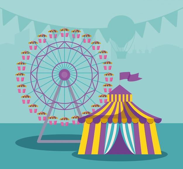Carpa de circo con rueda panorámica.
