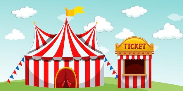 Carpa de circo y taquilla.