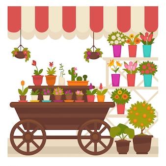 Carpa comercial con flores naturales en ilustración de macetas.