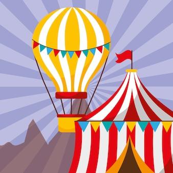 Carpa y globo aerostático festival de feria de diversión de carnaval