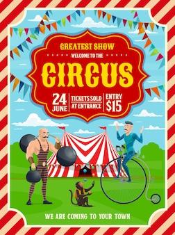 Carpa superior de circo o carnaval, acróbata, hombre fuerte