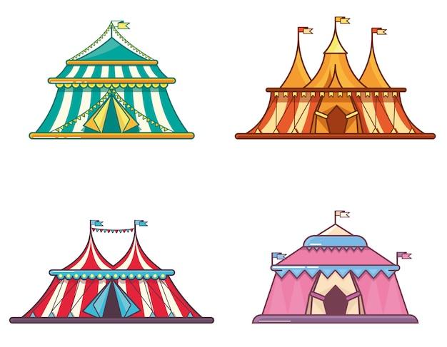 Carpas de circo en estilo plano lineal.