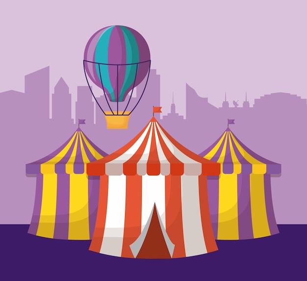 Carpas de circo y globo de aire caliente