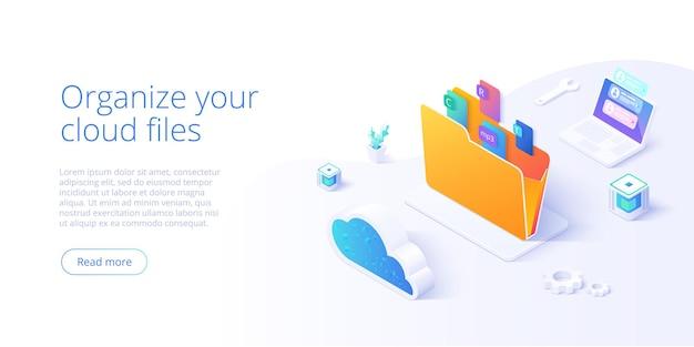 Carpeta de almacenamiento en la nube isométrica. servicio o aplicación de organización de archivos digitales con transferencia de datos.