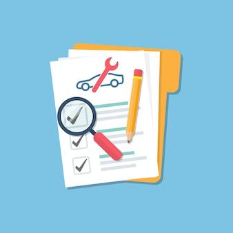 Carpeta de auto con lista de verificación de documentos, lupa vidrio y lápiz en un estilo plano