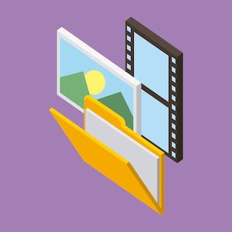 Carpeta de almacenamiento foto película fondo púrpura