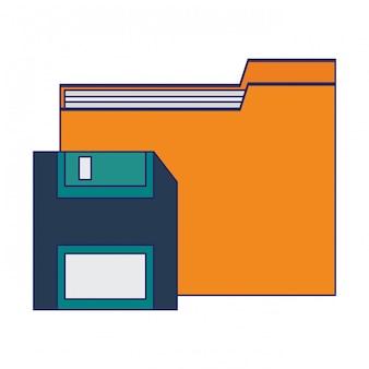 Carpeta con diskette guardar símbolo